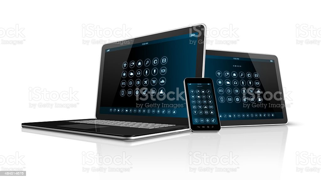 Smartphone tablet pc and Laptop stock photo