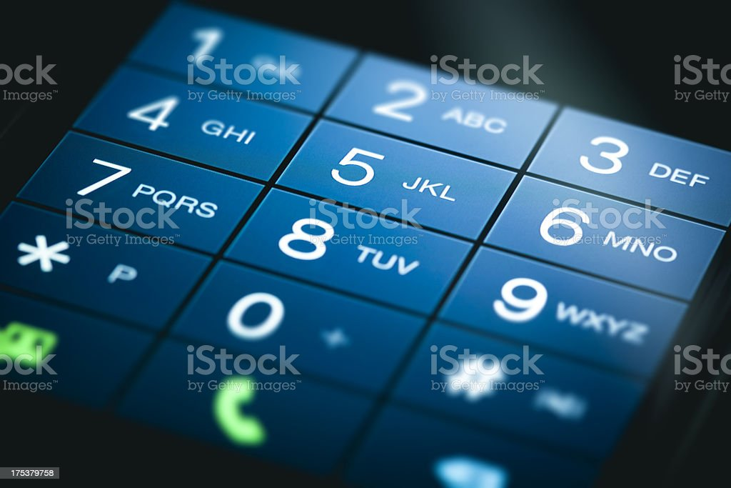 A smartphone touchscreen keypad stock photo