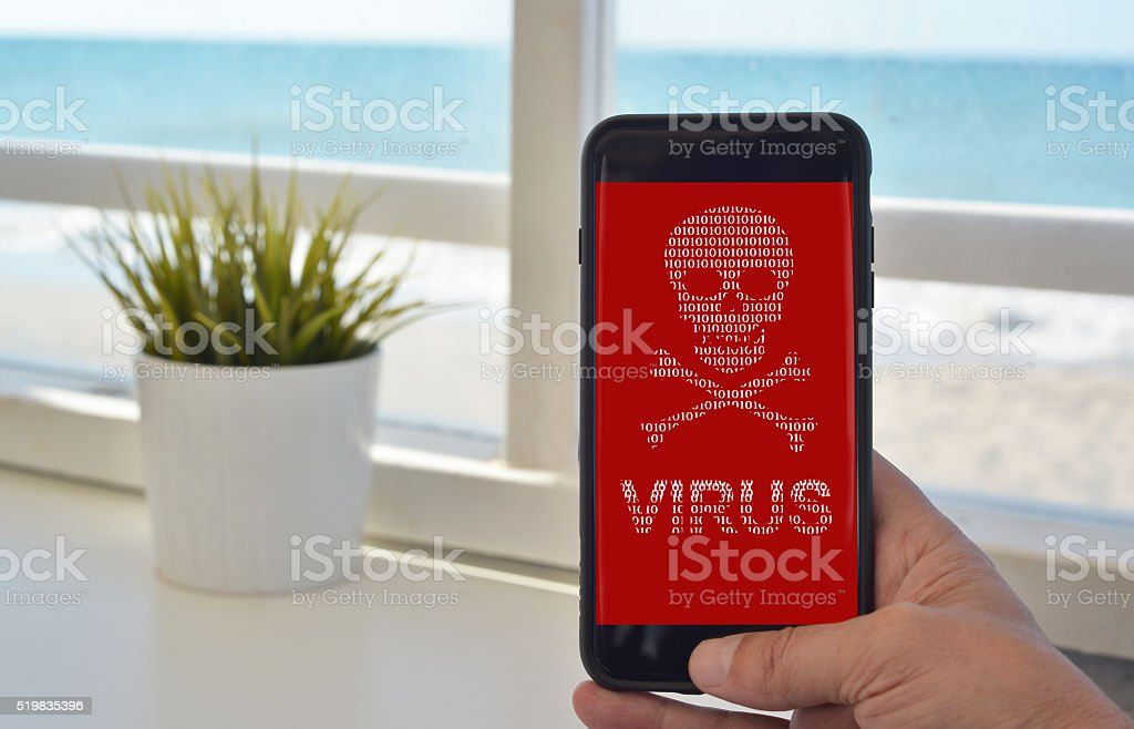 smartphone virus warning stock photo