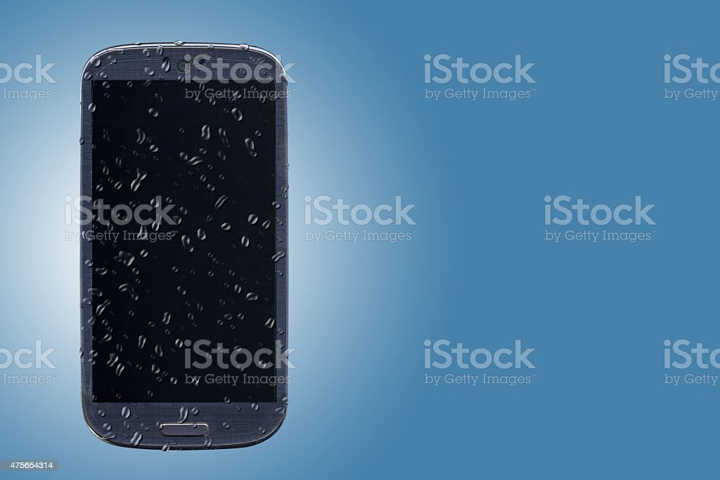 Smartphone waterproof, cleaning or forecast stock photo