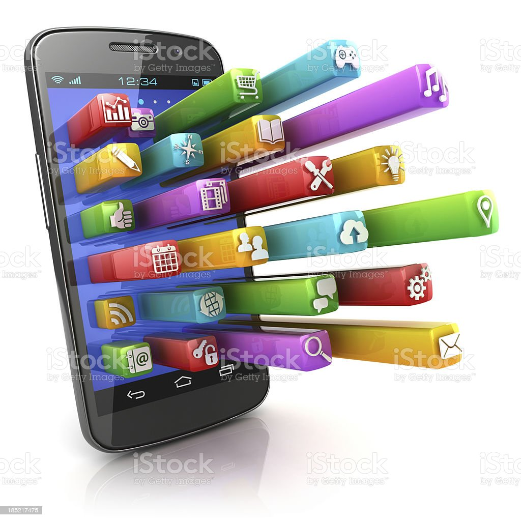 Smartphone with 3d app icons royalty-free stock photo