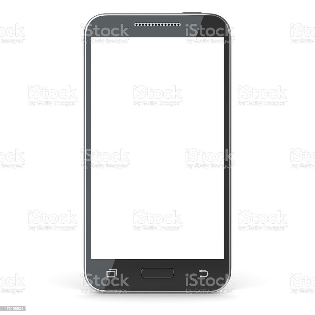 Smartphone with blank screen vector art illustration
