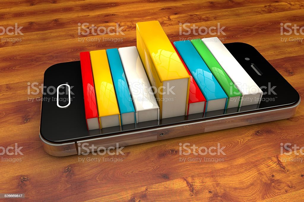smartphone with books isolated, E-book library concept stock photo