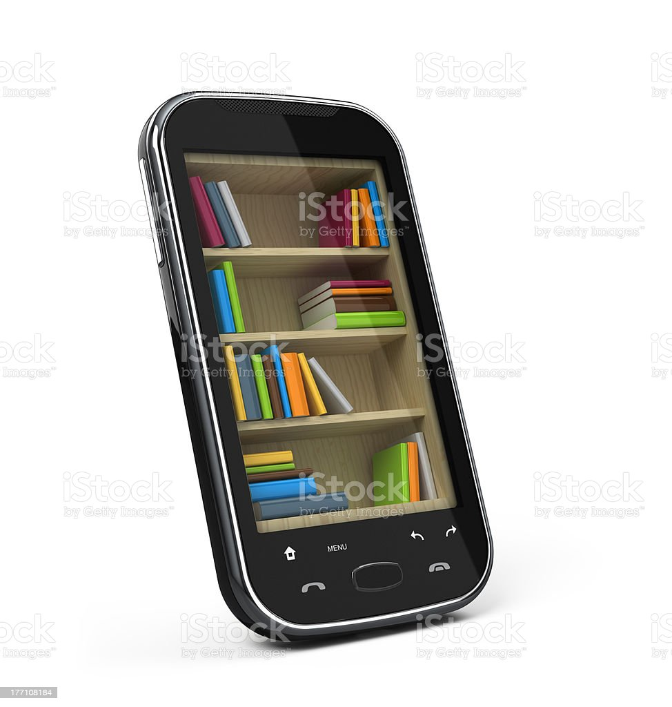 Smartphone with bookshelf royalty-free stock photo