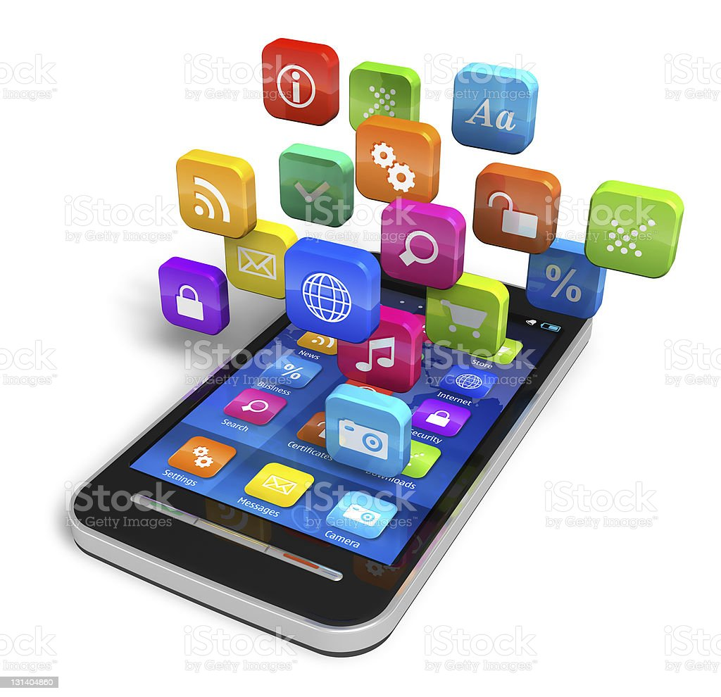 Smartphone with cloud of application icons stock photo