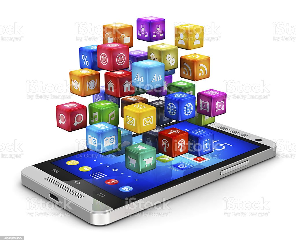 Smartphone with cloud of icons stock photo