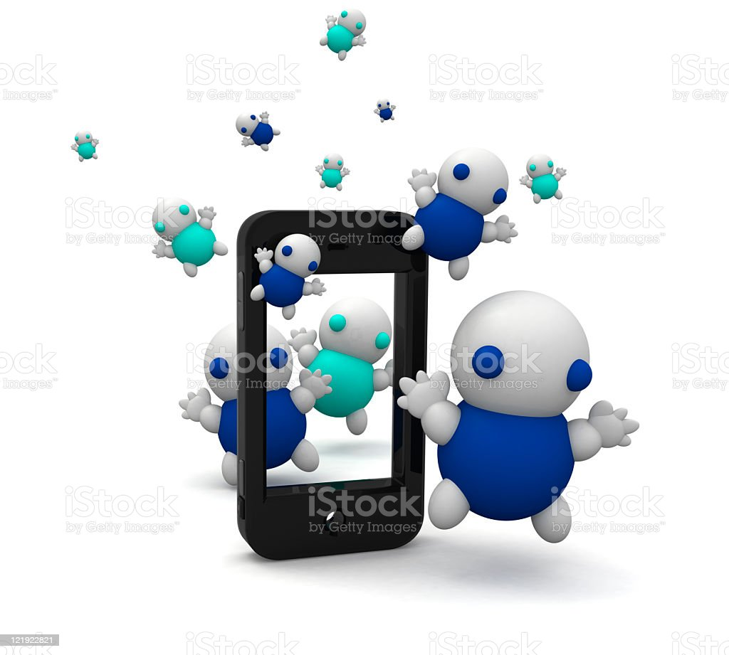 Smartphone with cute 3d tubby cartoon people royalty-free stock photo