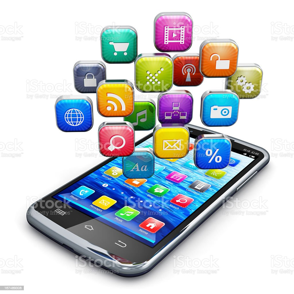 Smartphone with different square icons directly above royalty-free stock photo