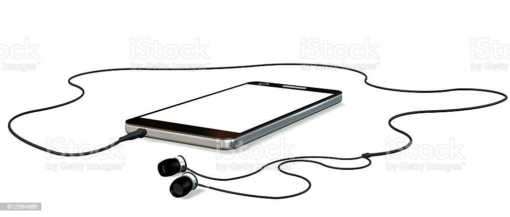 Smartphone with earphones isolated on white stock photo