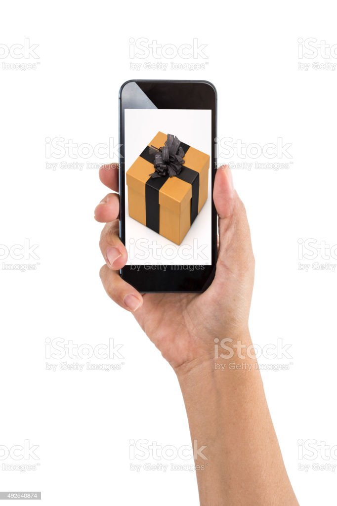 Smartphone with Gifts Concept stock photo