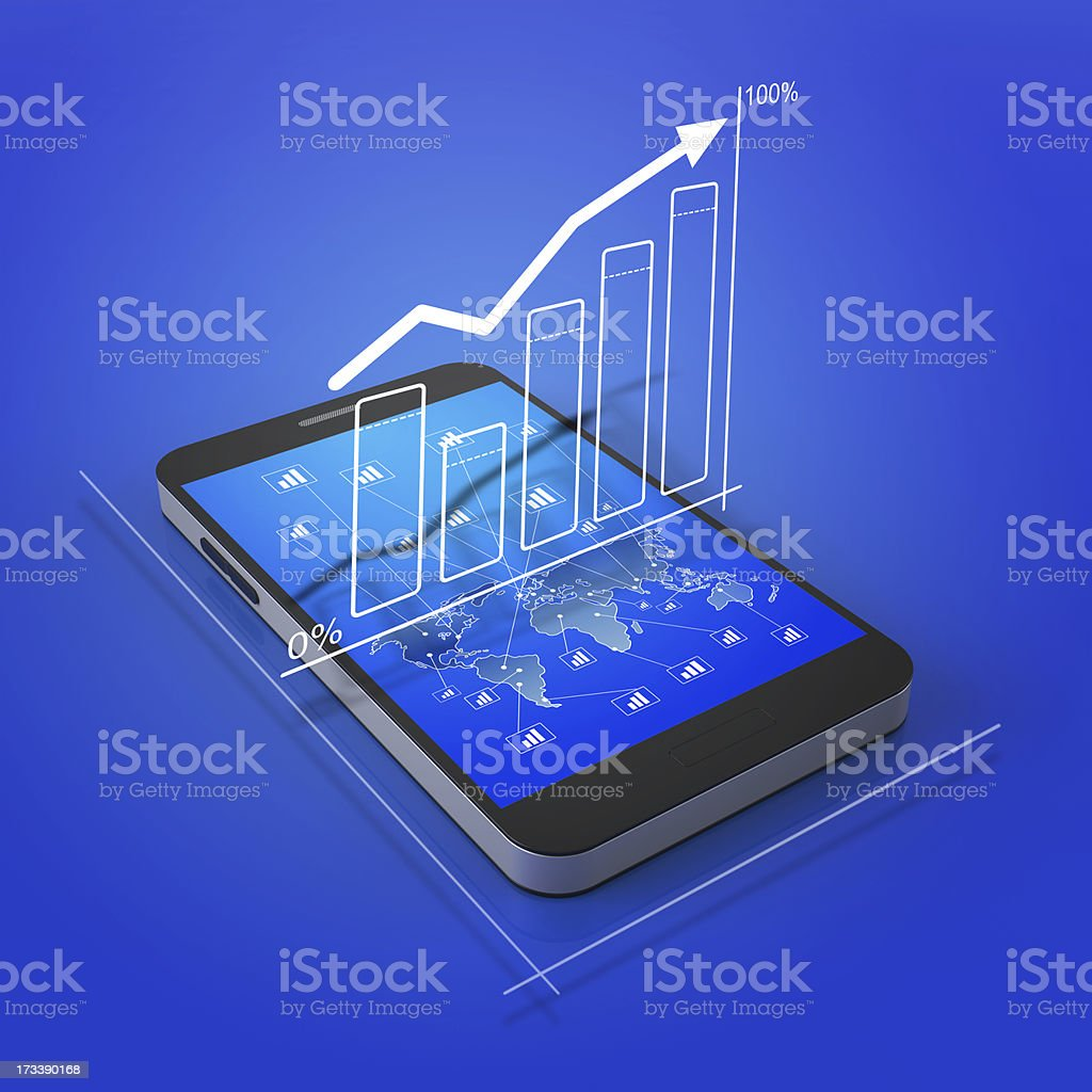 A smartphone with global business graph on the screen royalty-free stock photo