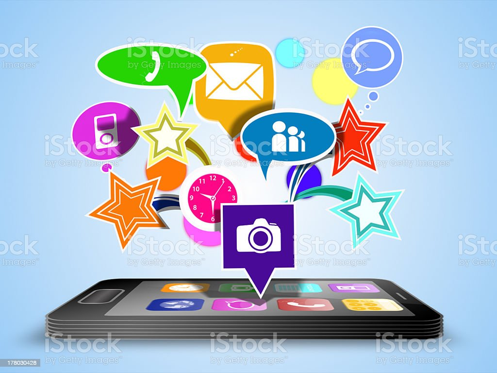 Smartphone with modern applications over royalty-free stock photo