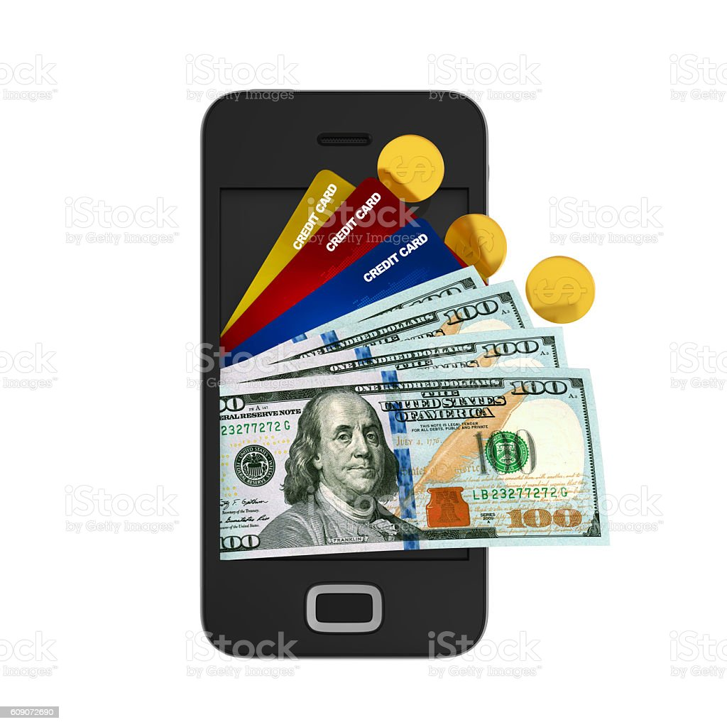 Smartphone with Money and Credit Cards stock photo