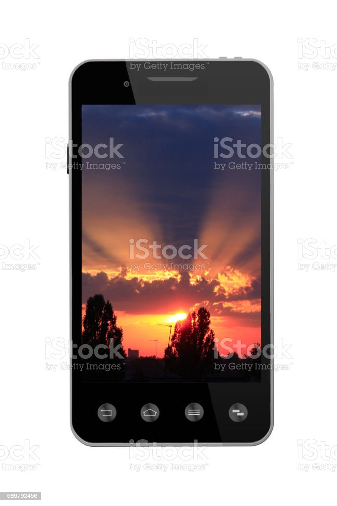 smart-phone with picture of sunset on white stock photo