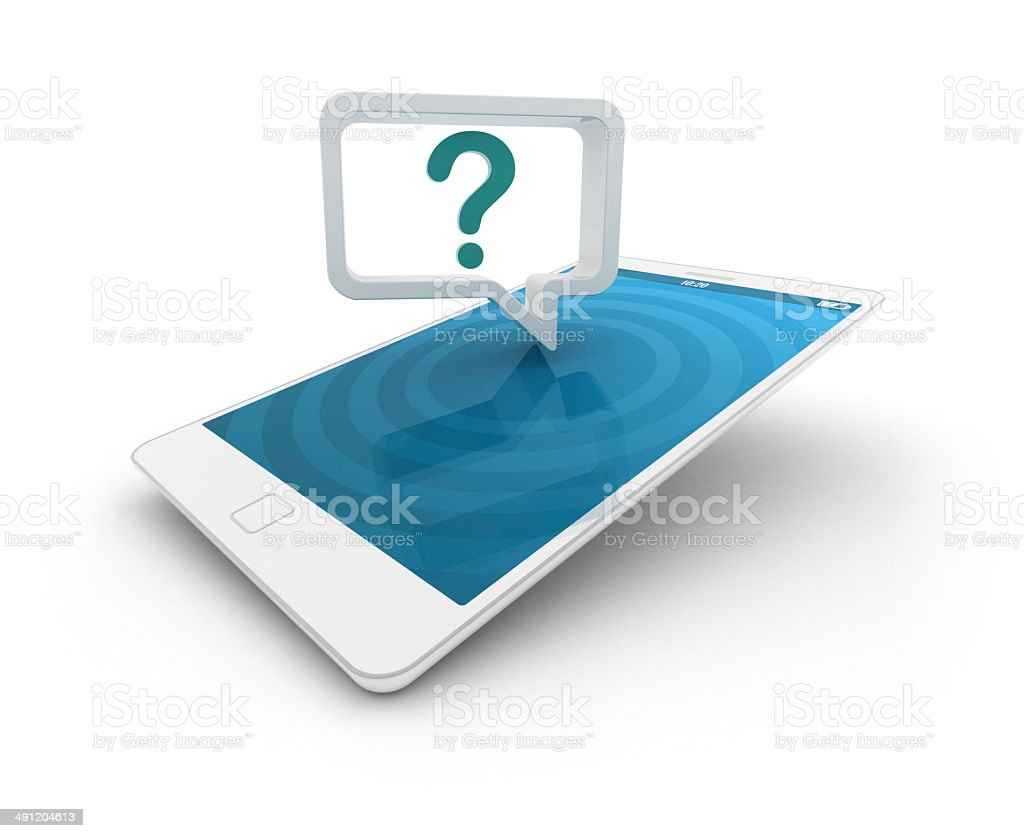 Smartphone with speech bubble - question mark stock photo