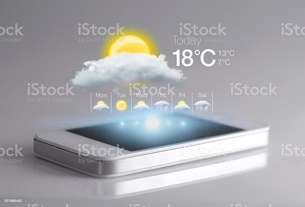Smartphone with weather icon on light grey background. stock photo