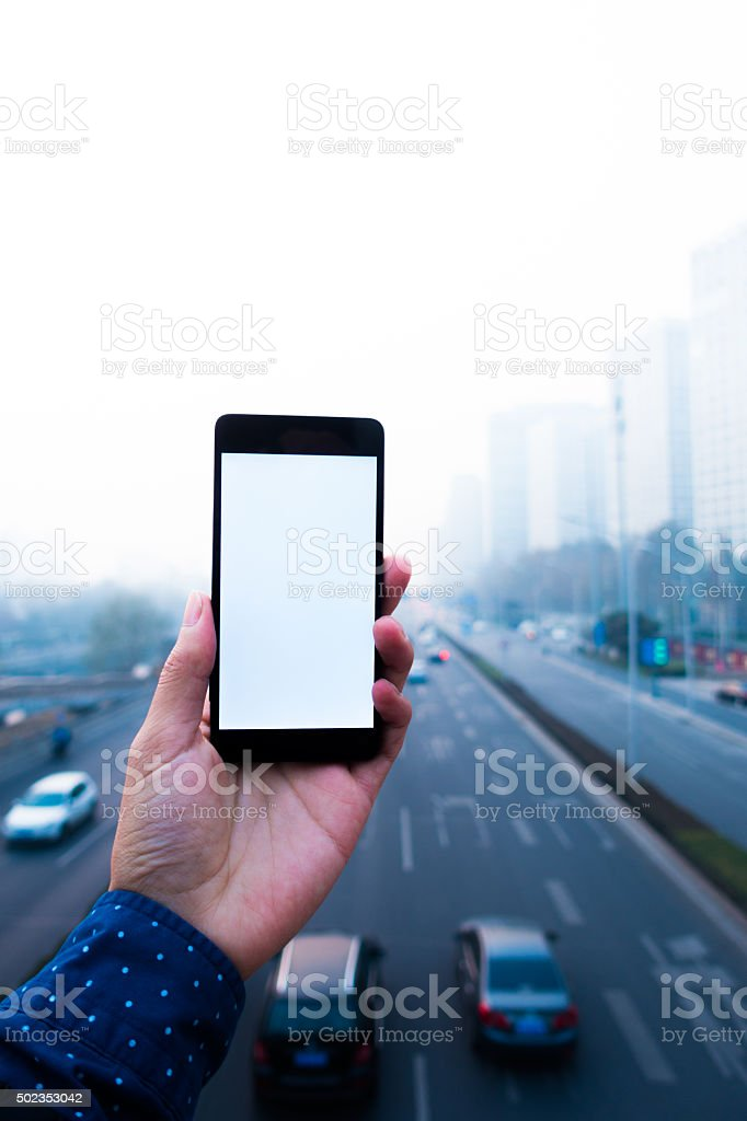 smartphone with white screen stock photo