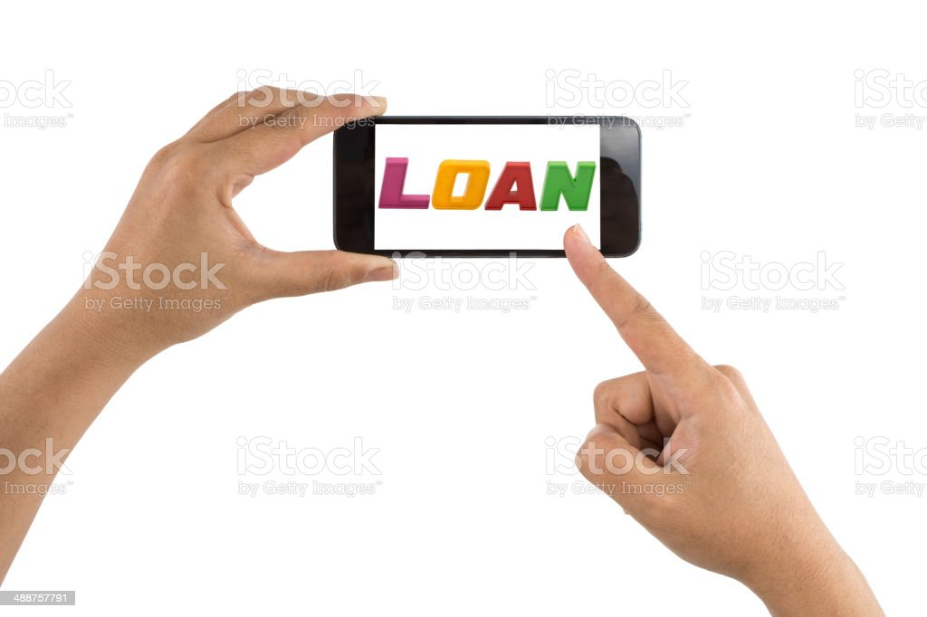 Smartphone with word Loan stock photo