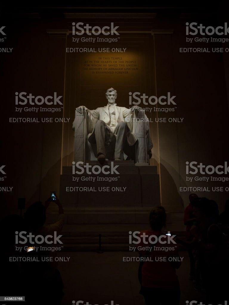 Smartphones at Lincoln Memorial stock photo