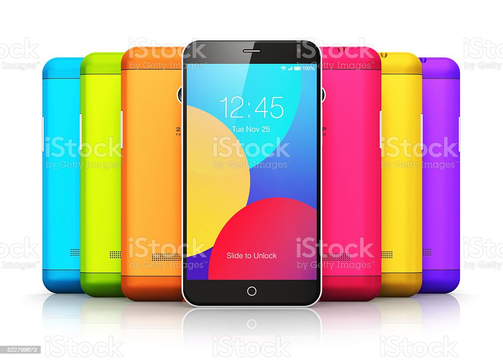 Smartphones with color back covers stock photo
