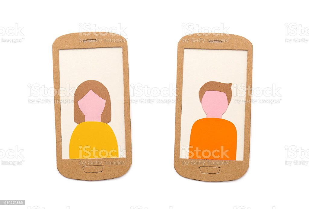 Smart-phones with user profile pictures stock photo