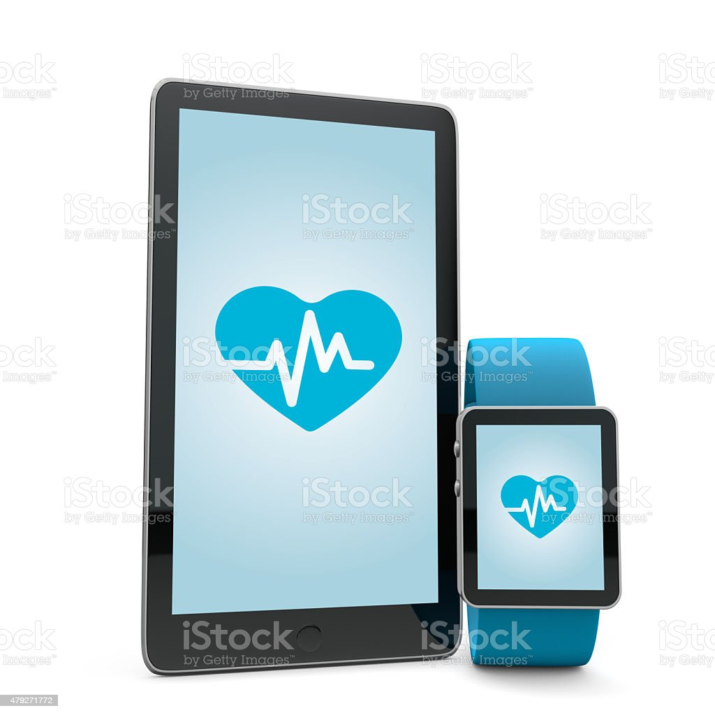 Smartwatch and phone pulse monitor stock photo