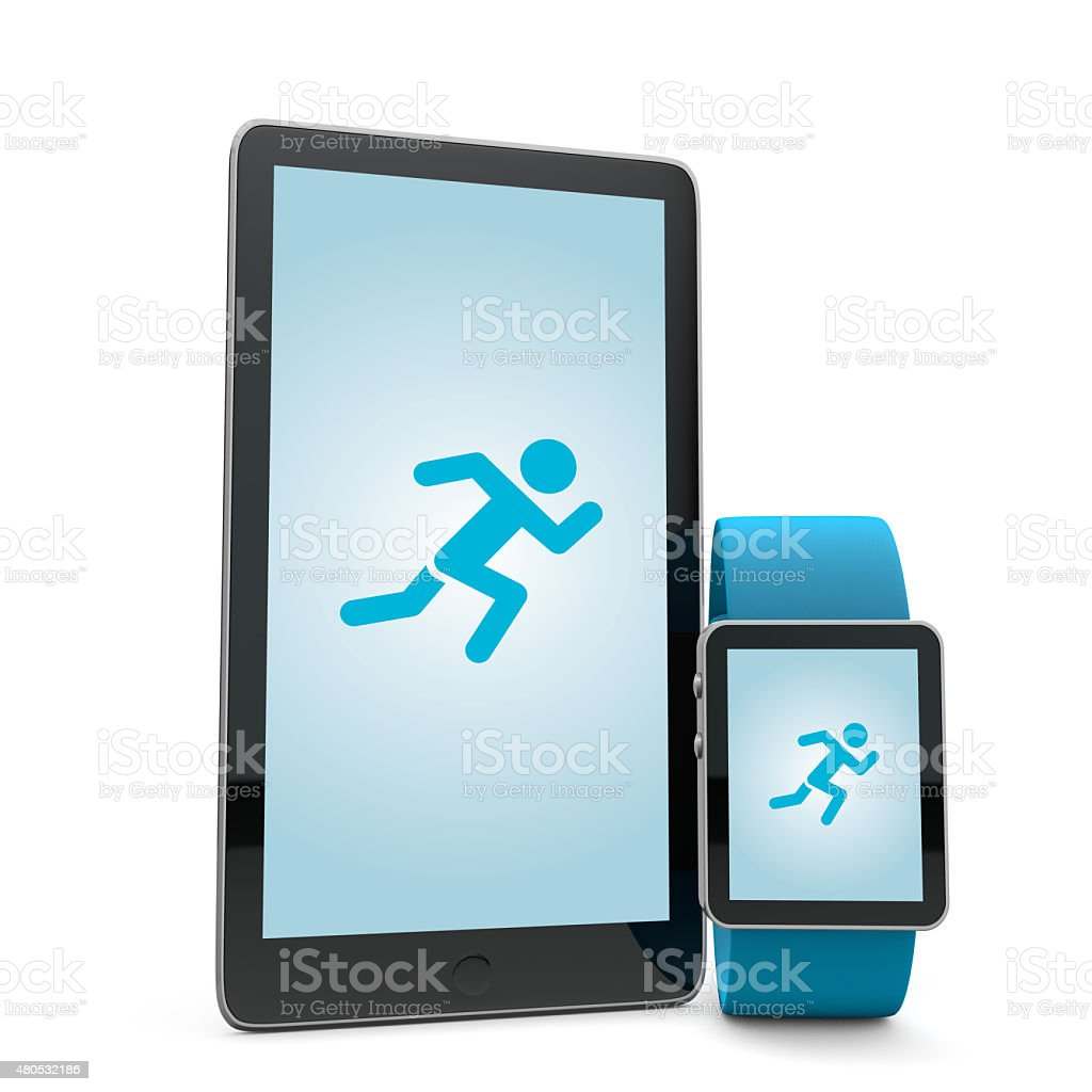 Smartwatch and phone running app stock photo