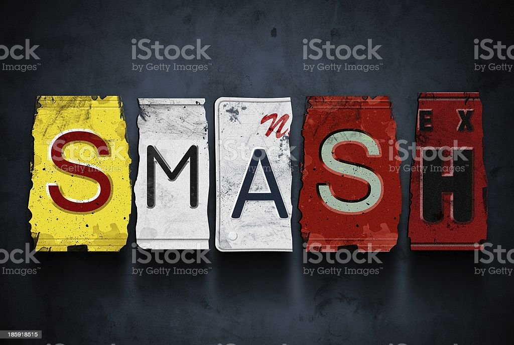 Smash word on vintage car license plates, concept sign royalty-free stock photo