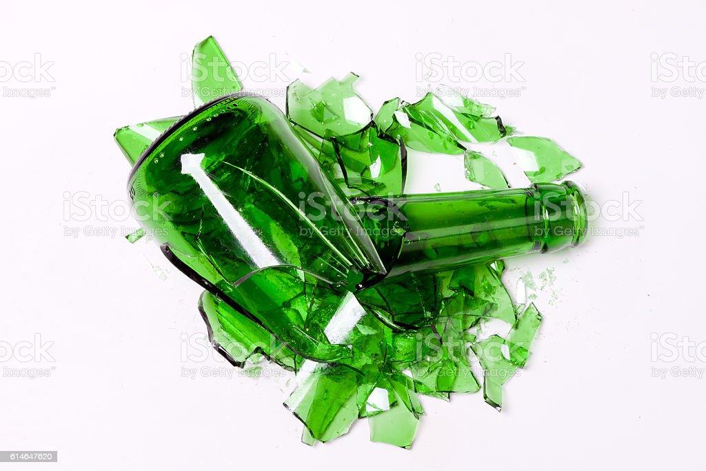 smashed empty bottle stock photo