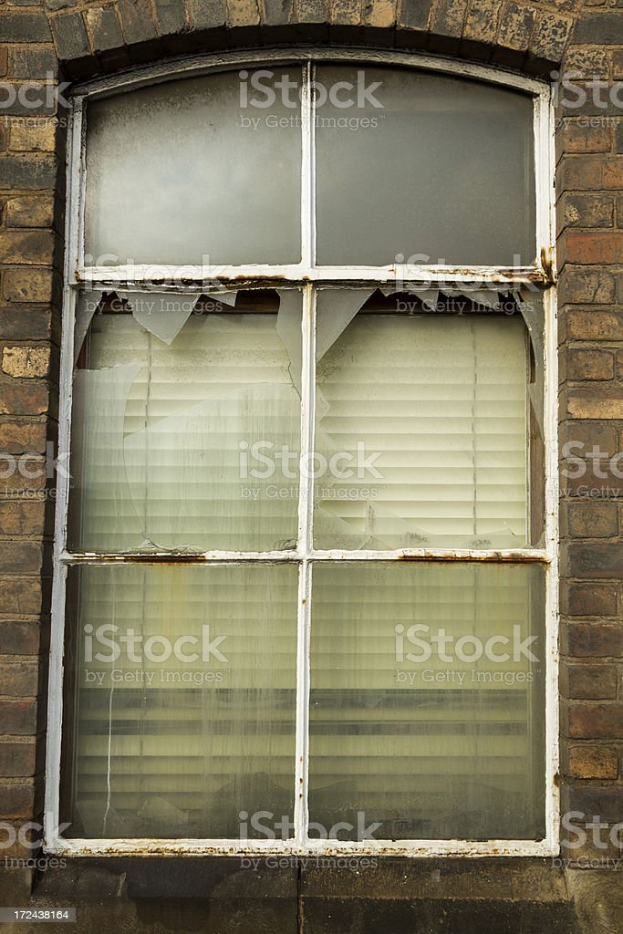 Smashed factory window royalty-free stock photo