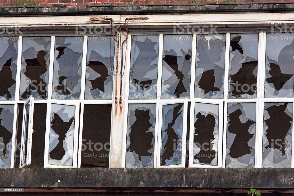 Smashed factory windows stock photo