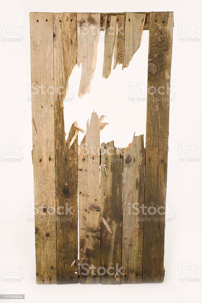 Smashed fence stock photo