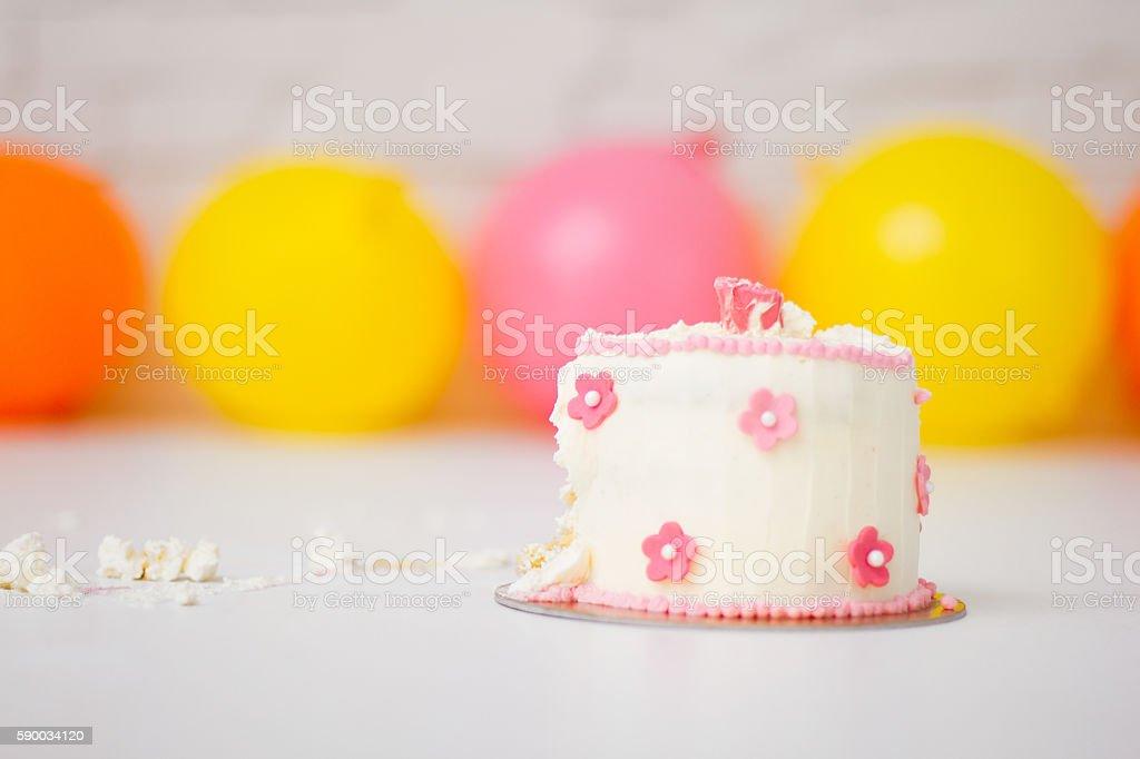 Smashed first birthday cake stock photo