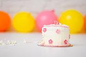 Smashed first birthday cake