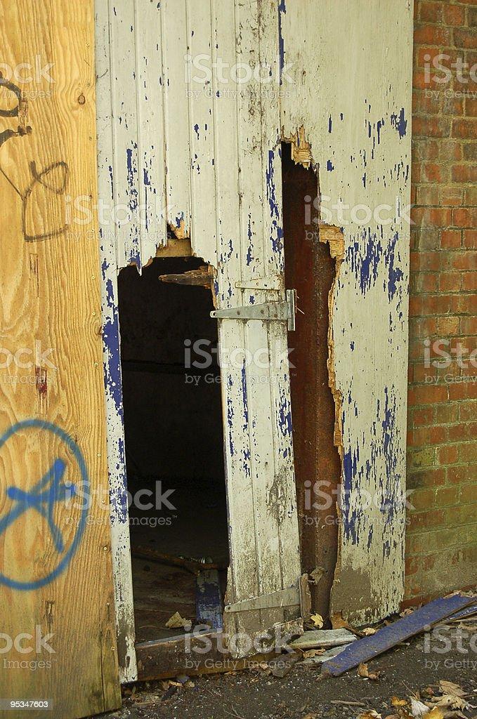 Smashed in door stock photo