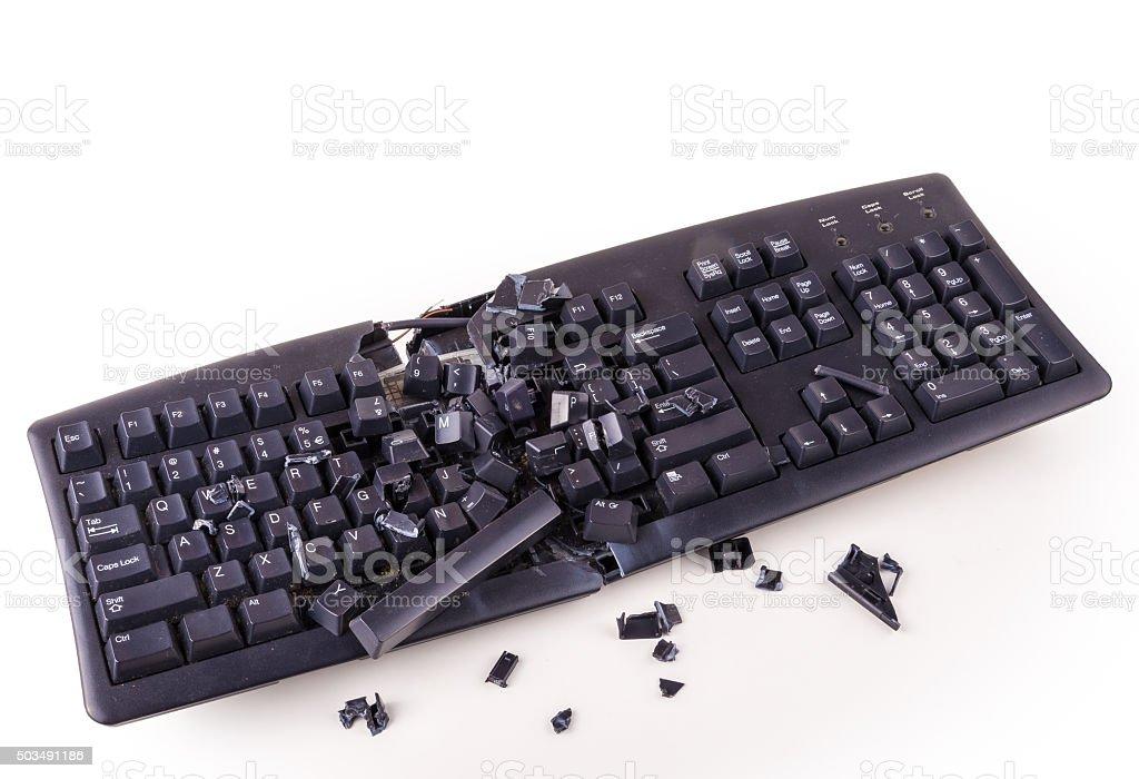 Smashed keyboard stock photo