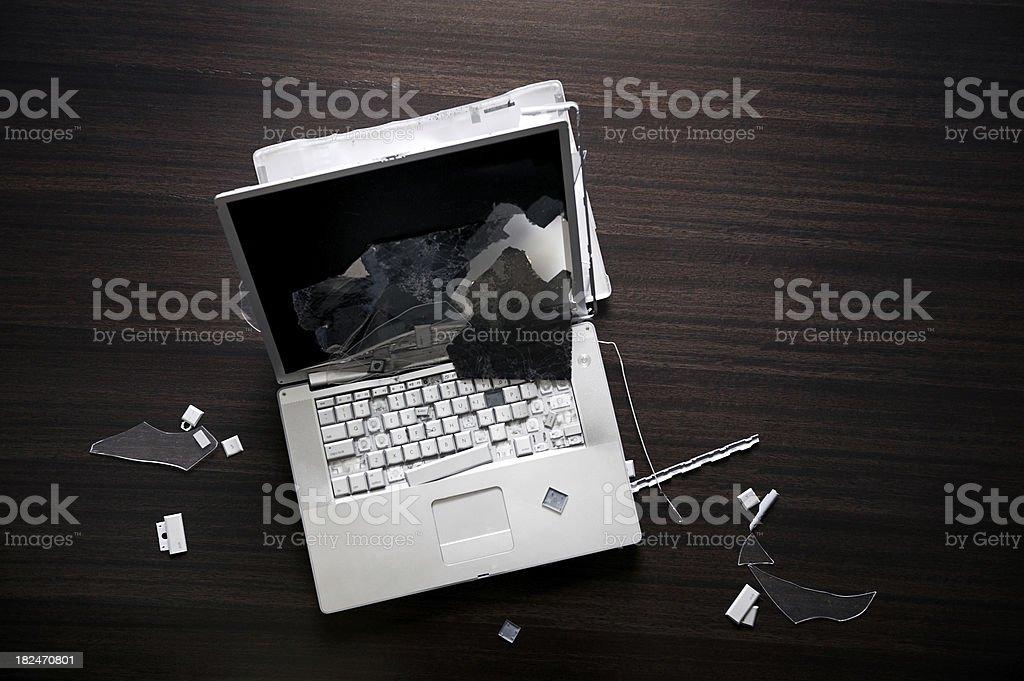 Smashed laptop stock photo
