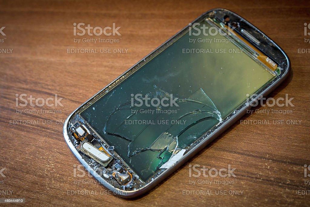 Smashed Mobile Phone stock photo