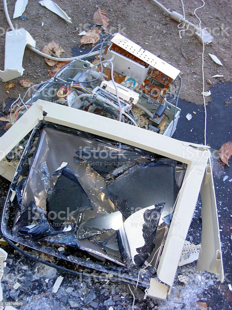 Smashed Monitor stock photo