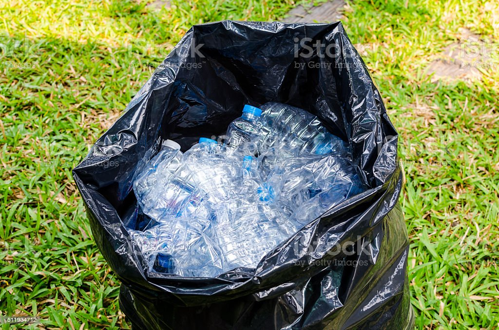 Smashed plastic water bottle for recycle stock photo
