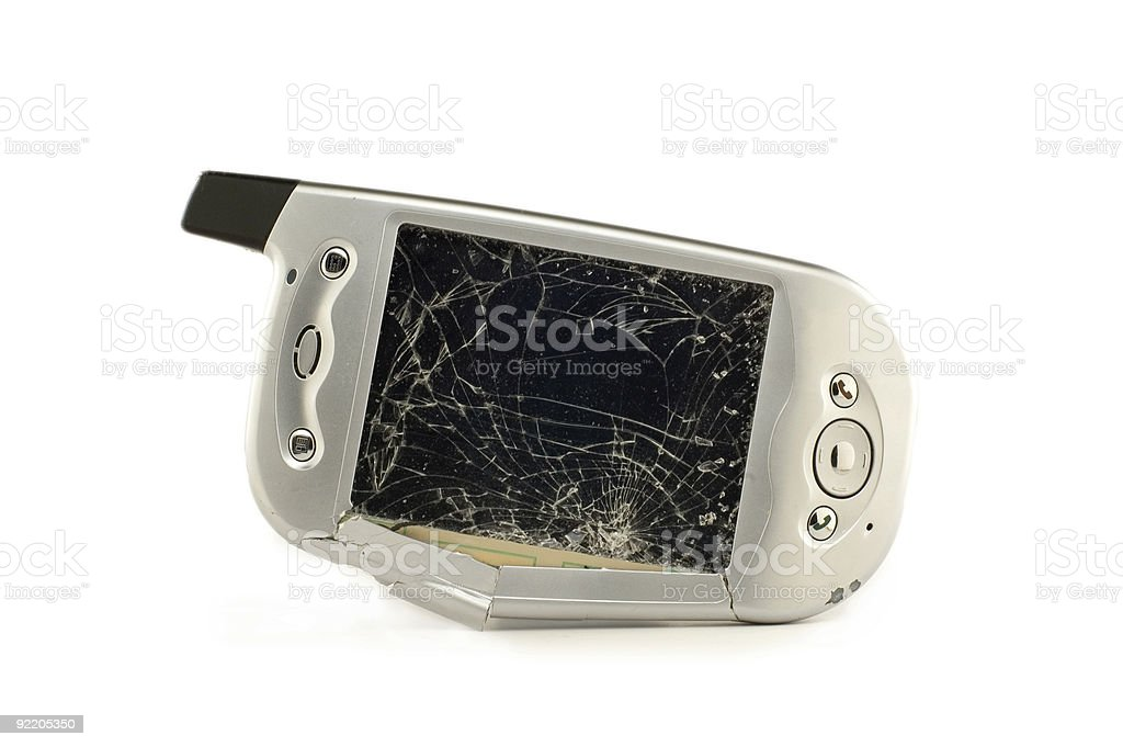 Smashed Pocket PC - On Side stock photo