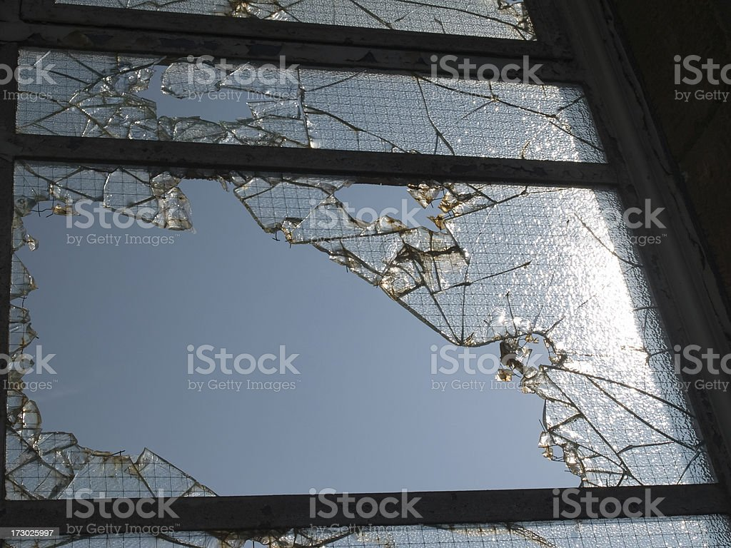 smashed safety glass window. royalty-free stock photo