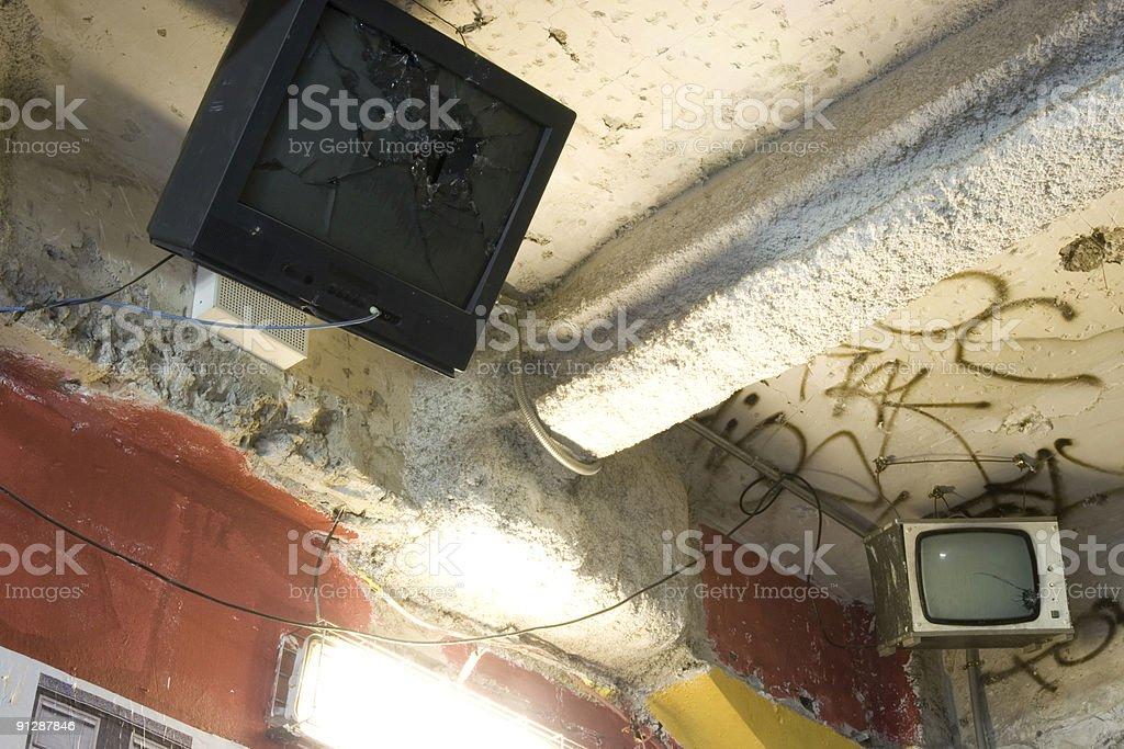 Smashed Television stock photo