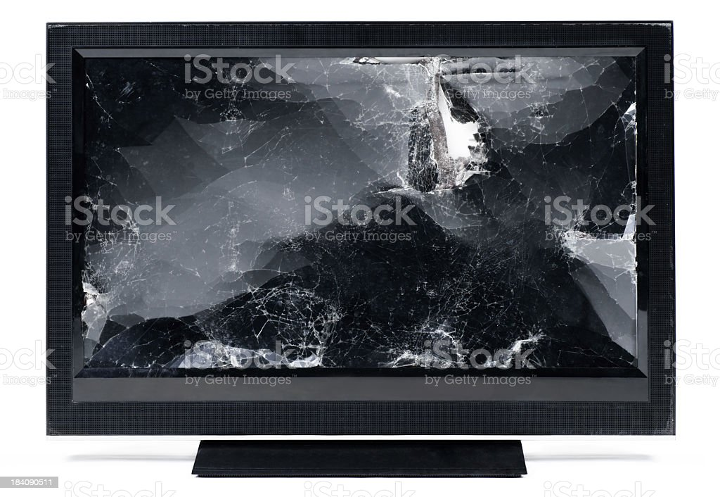 Smashed up flat screen HDTV. royalty-free stock photo