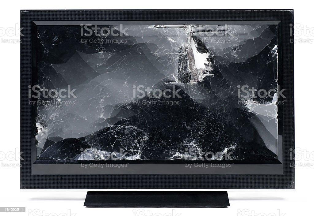 Smashed up flat screen HDTV. stock photo