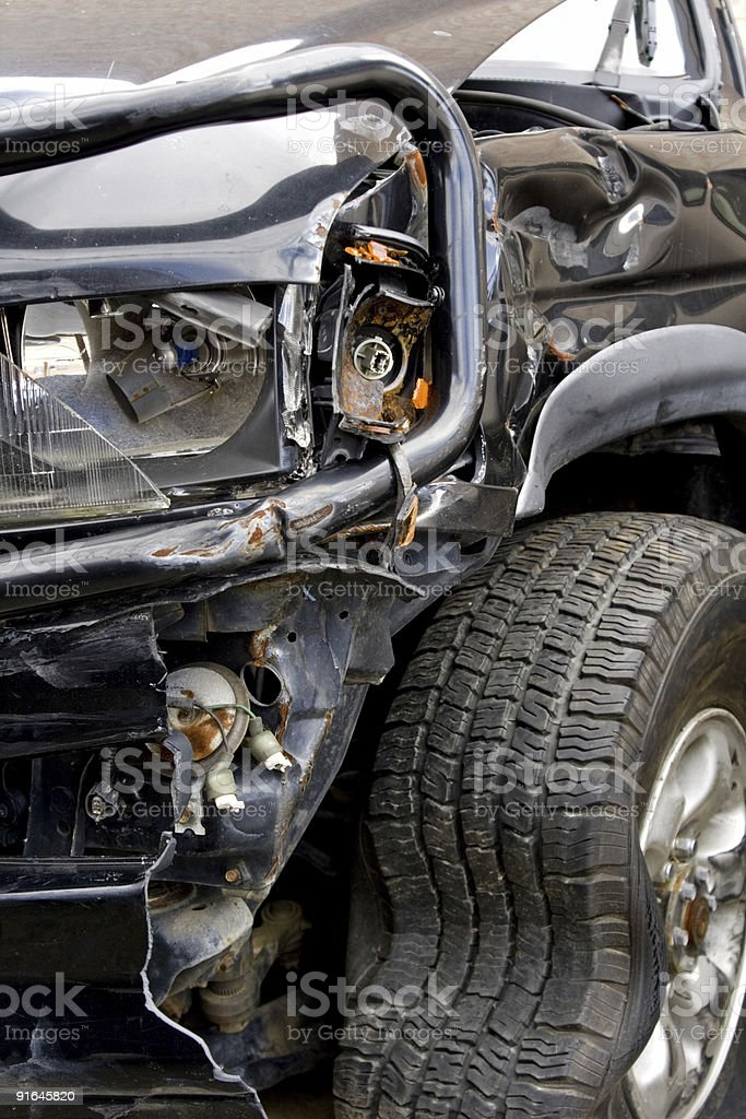Smashed up SUV - Vertical royalty-free stock photo