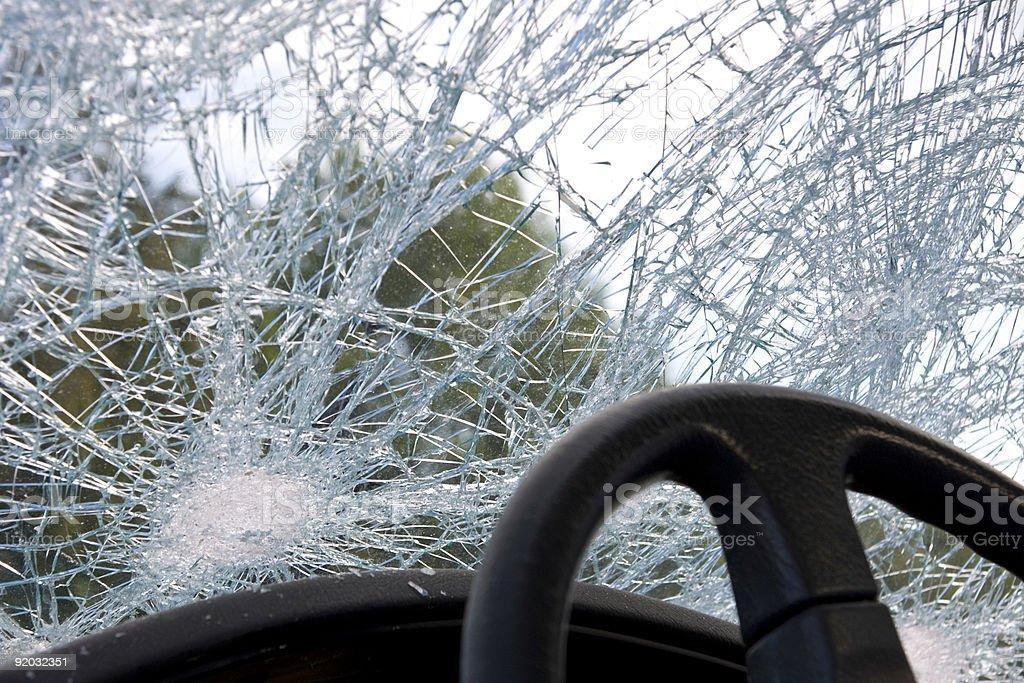 Smashed windshield stock photo