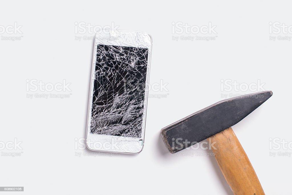 Smashing a cellphone stock photo