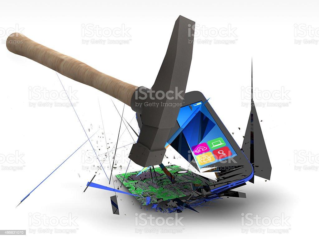 Smashing a Smart Phone stock photo