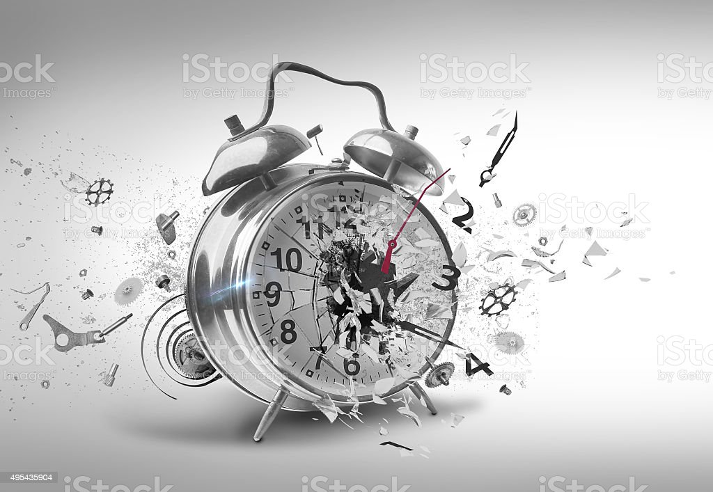Smashing Alarm clock stock photo
